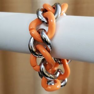 LOFT Orange Chunky Resin Chainlink Bracelet #727